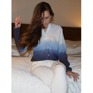 Long Sleeve Ombre Button Up Shirt - BLUE XL