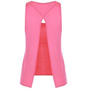 Slit Long Workout Gym Vest - ROSE M