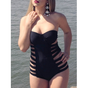 Cut Out Bandeau One Piece Strapless Swimsuit with Underwire - Black - M