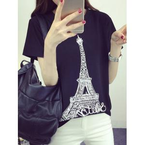 Trendy  Round Neck Tower Print Short Sleeves T-Shirt For Women