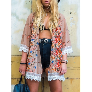 Collarless Lace Trim Long Floral Kimono