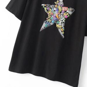 Simple Round Neck Short Sleeve Star Print T-Shirt For Women -