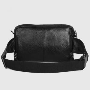 Leisure Zippers and PU Leather Design Messenger Bag For Men -