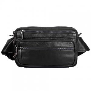 Leisure Zippers and PU Leather Design Messenger Bag For Men