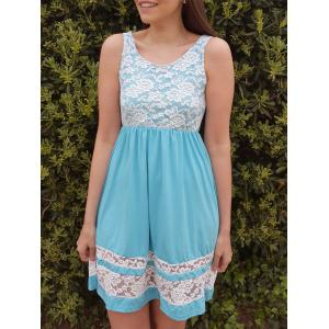 Refreshing Scoop Collar Sleeveless Color Block Lace Spliced Women's Sundress - Azure - Xl
