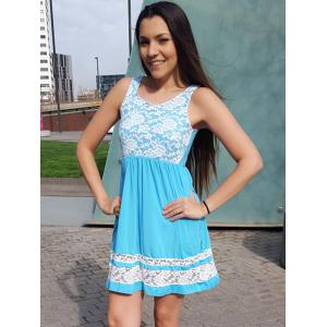 Refreshing Scoop Collar Sleeveless Color Block Lace Spliced Women's Sundress -
