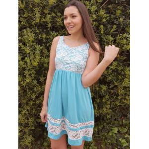 Refreshing Scoop Collar Sleeveless Color Block Lace Spliced Women's Sundress - AZURE S