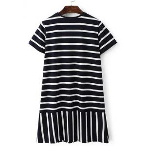 Casual Round Neck Short Sleeve Women's Striped Mini Dress -