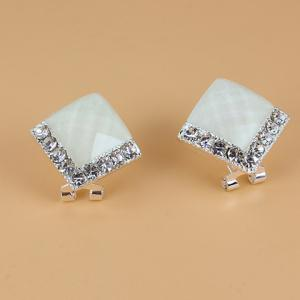 Pair of Brilliant Diamante Square Stud Earrings For Women