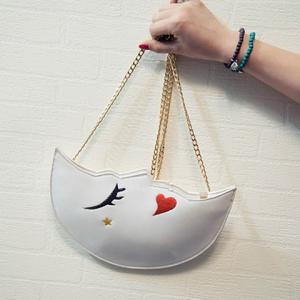 Cute Embroidery and Moon Shape Design Crossbody Bag For Women - WHITE