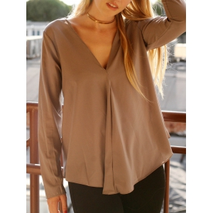 Chic V Neck Long Sleeve Pure Color Asymmetrical Women's Blouse