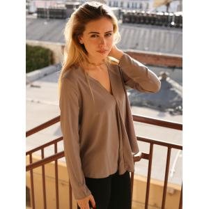 Chic V Neck Long Sleeve Pure Color Asymmetrical Women's Blouse - GRAY S