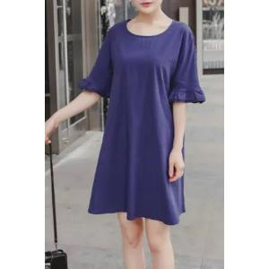 Brief Round Neck Ruffled Sleeve Pure Color Dress For Women -