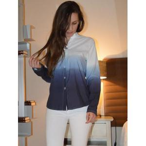 Long Sleeve Ombre Button Up Shirt - BLUE S