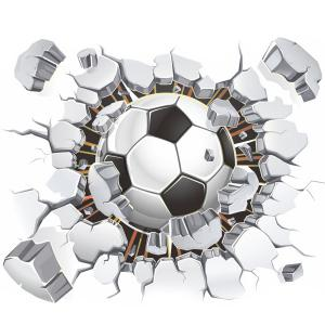 3D Football Broken Wall Removeable Wall Stickers Sports - COLORMIX
