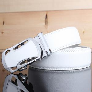 Stylish Hollow Out Sports Car Shape Metal Buckle Wide Belt For Men - WHITE