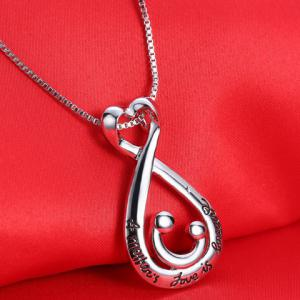 Letters Water Drop Heart Shape Pendant Necklace -