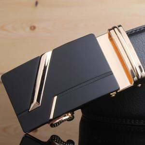 Stylish Golden Stripy Embellished Metal Automatic Buckle Black Wide Belt For Men -