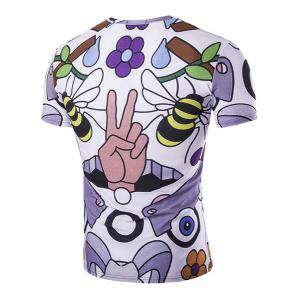 Slimming Round Neck Bee Printed T-Shirt For Men - COLORMIX M
