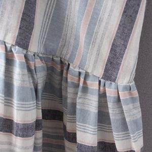 Simple Style V-Neck Striped Pleated Dress For Women -