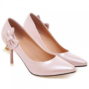 Elegant Bow and Faux Pearls Design Pumps For Women -