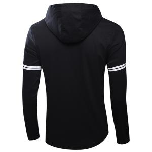 Casual Hooded Plain Front Letters Stripes Print Long Sleeves Jacket For Men -