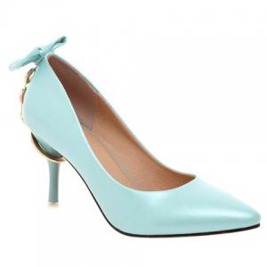 Graceful Metallic and Bowknot Design Pumps For Women - Azure - 37