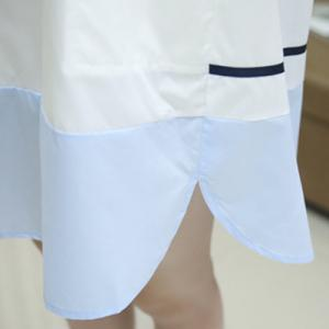 Leisure Style Boat Neck Short Sleeve Color Spliced Loose-Fitting Pocket Dress For Women -