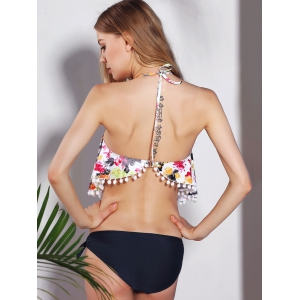 Sweet Halter Floral Print Fringed Women's Two-Piece Swimsuit -