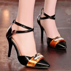 Trendy Colour Matching and Metal Design Pumps For Women -