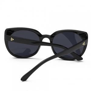 Chic Small Triangle Embellished Black Cat Eye Driving Sunglasses -