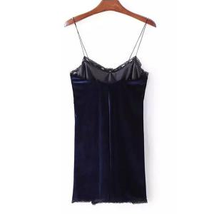 Stylish Strappy Backless Lace Embellished Dress For Women - PURPLISH BLUE S