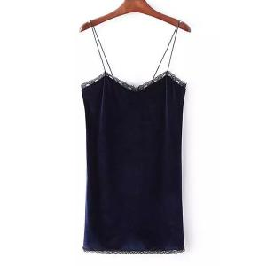 Stylish Strappy Backless Lace Embellished Dress For Women