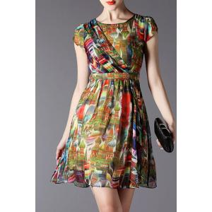 Elegant Round Neck Short Sleeve Women's Midi Castle Print Dress