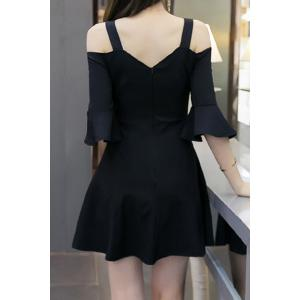 Chic Sweetheart Neck Hollow Out Bell Sleeves Dress For Women -