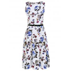 Trendy Round Collar Sleeveless Floral Print Slimming Women's Dress - White - 2xl