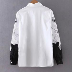 Chic Shirt Collar Long Sleeve Lace Design Hit Color Women's Shirt -