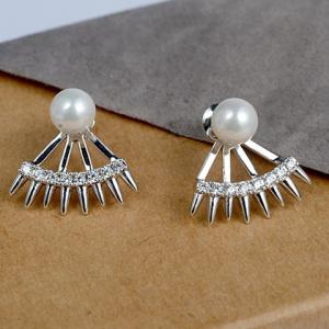Pair of Graceful Faux Pearl Rivet Cartilage Earrings For Women -
