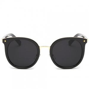 Chic Metal Nose Bridge Black Cat Eye Sunglasses For Women -