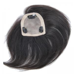 Brazilian Human Hair Trendy Clip-In Straight Natural Black Toupee - BLACK