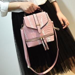 Fashionable Color Block and Embossing Design Backpack For Women -