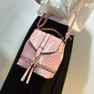 Fashionable Color Block and Embossing Design Backpack For Women - PINK