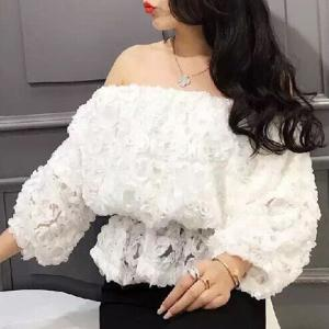 Sweet 3/4 Sleeves Boat Neck Lace Ruffled Women's Blouse -
