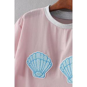 Sweet Short Sleeve Shell Appliqued Women's Chiffon T-Shirt -