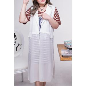 Stylish Lapel Neck Chiffon Plus Size Waistcoat For Women -