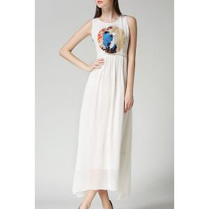 Ladylike Sleeveless Round Neck Chiffon Women's Maxi Dress