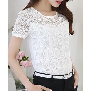 Women's Stylish Lace Spliced Scoop Neck Short Sleeve Blouse -