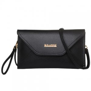 Fashion Cover and Solid Color Design Crossbody For Women - BLACK