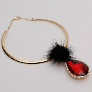 Chic Faux Crystal Water Drop Pendant Necklace For Women - RED