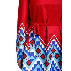 Women's Stylish Scoop Neck Bell Sleeve Geometrical Print Dress - RED XS
